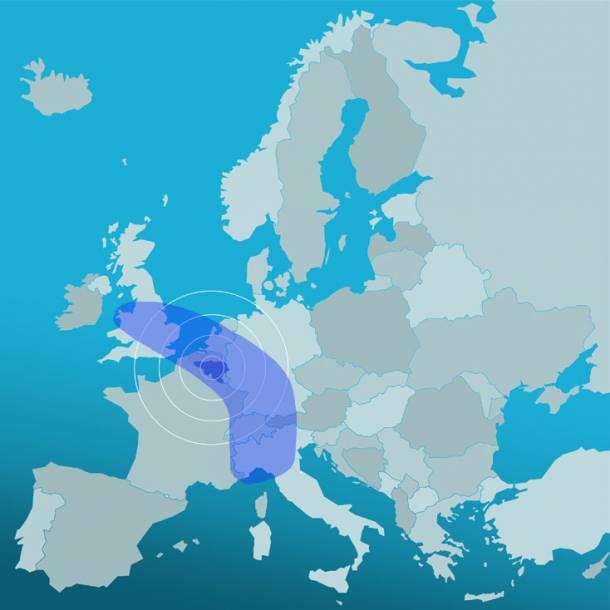La Wallonie dans la banane bleue euro...